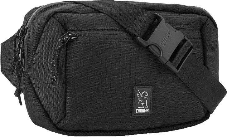 Chrome Ziptop Waistpack Over Shoulder Sling Bumbag, 2.4L Black