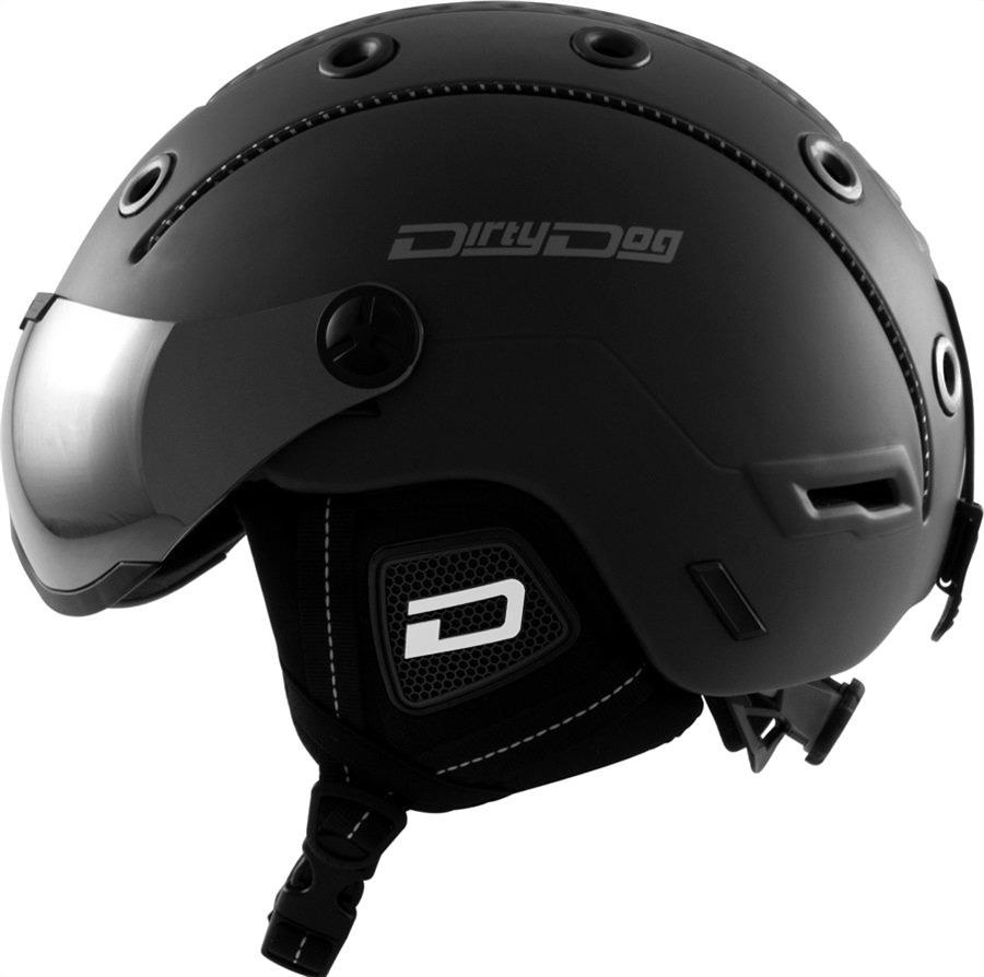 Dirty Dog Commanche Silver Snowboard/Ski Visor Helmet, L Matte-Black