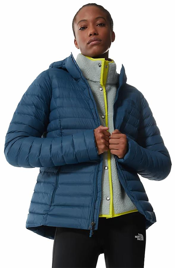 The North Face Stretch Down Hoodie Womens Hiking Jacket UK 14 Blue