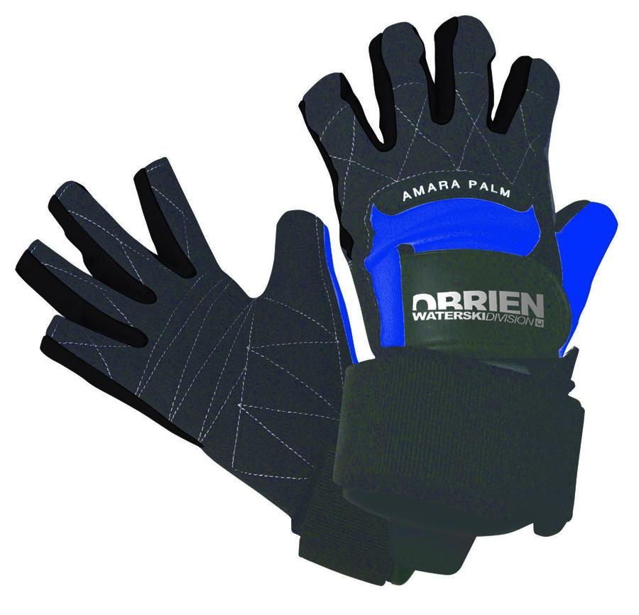 O'Brien Pro Skin 3/4 Waterski Wakeboard Gloves, L Black Blue