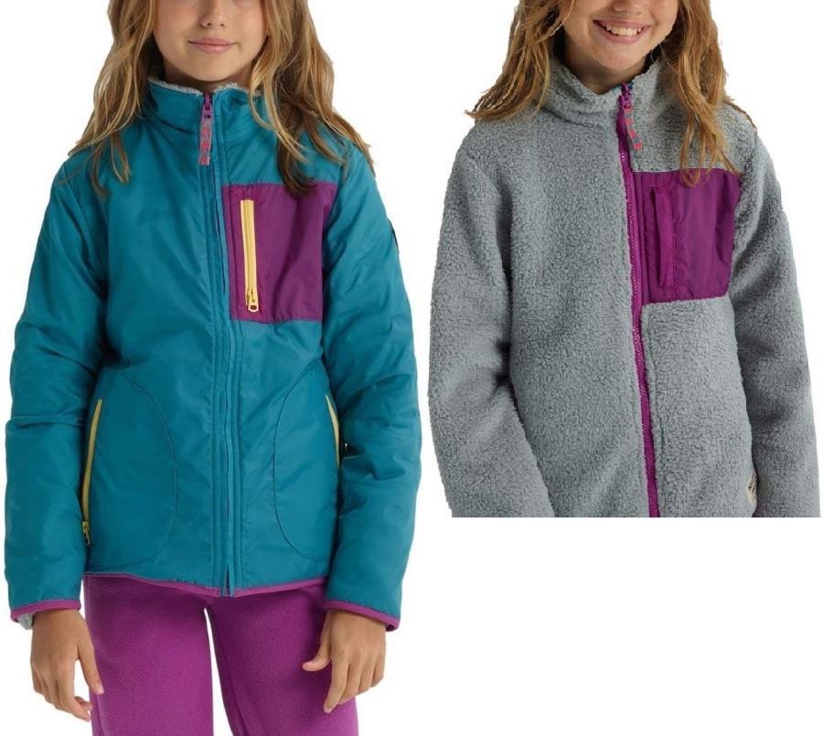 Burton Girls Snooktwo Reversible Fleece Jacket, M Tahoe/Gray Heather