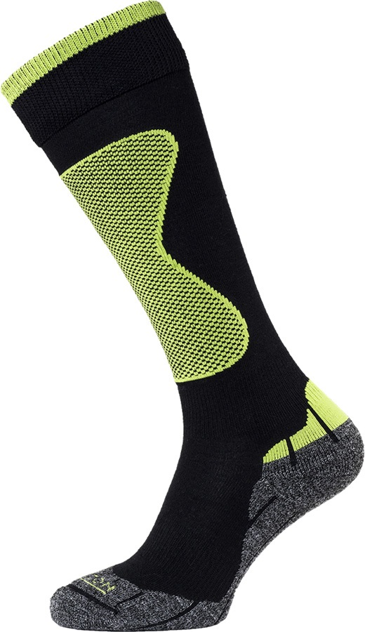 Horizon Performance Expert Merino Wool Ski Socks UK 6-8.5 Black/Lime