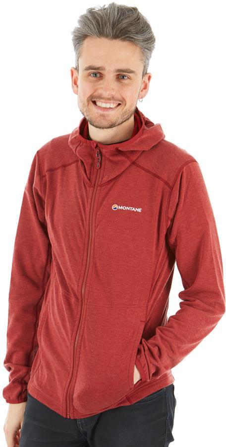 Montane Viper Hoodie Technical Hooded Fleece Jacket, M Redwood