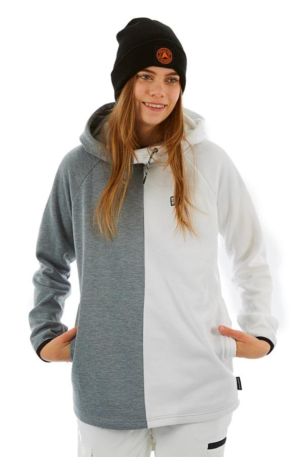 DC= Salem Women's Snowboard/Ski Fleece Hoodie, M Grey Heather/White