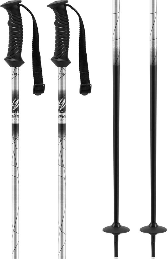 K2 Style Aluminium Women's Ski Poles, 105cm Silver
