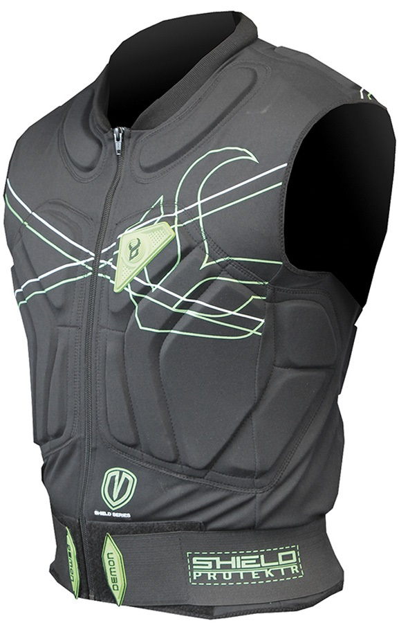 Demon Shield Ski/Snowboard Body Armour Vest, M Black/Green