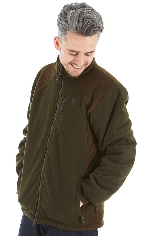 Pinewood Harrie Padded Fleece Jacket, L Green/Suede Brown