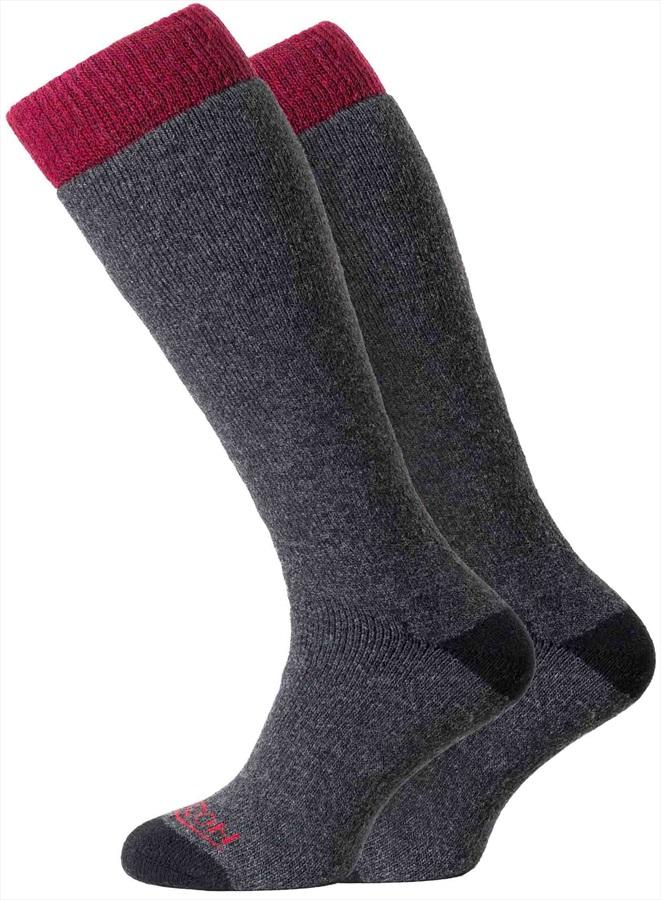 Horizon Heritage Winter Sport 2pk Merino Socks, UK 4-7 Charcoal/Berry