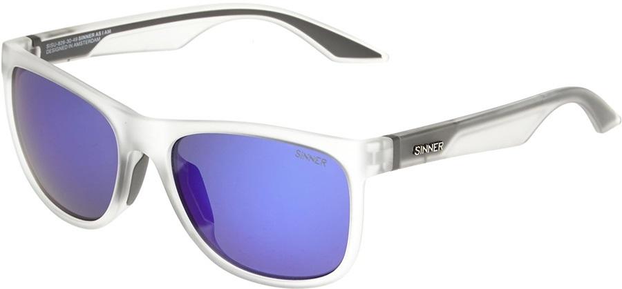 Sinner Rockford Sports White Blue Oil Wayfarer Sunglasses, Transparent