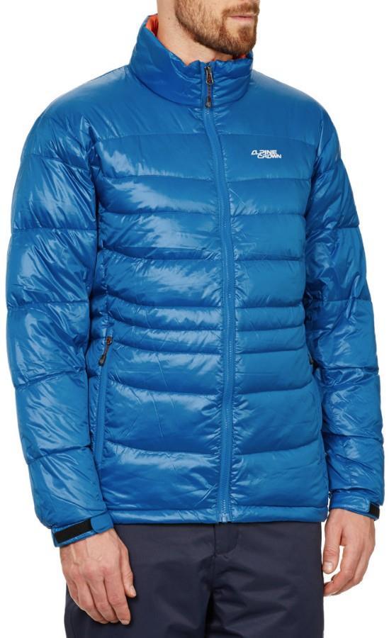 Alpine Crown Men's Mefisto Light Down Jacket, S/M Light Blue/Orange