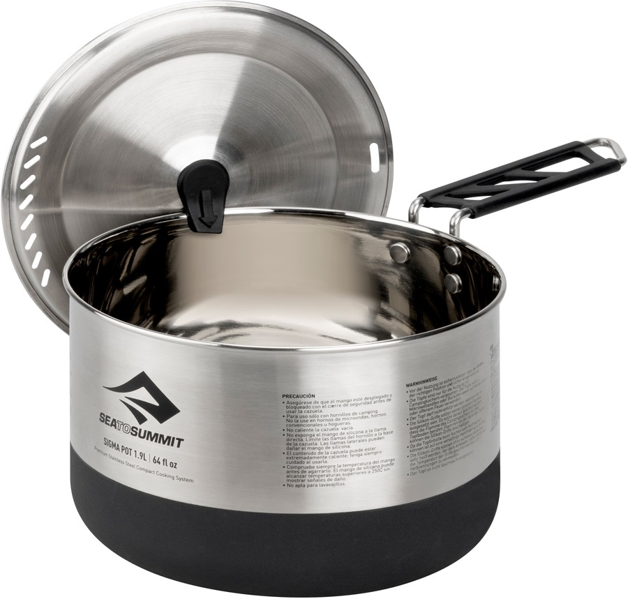 Sea to Summit Sigma Pot Stainless Steel Camping Cookware, 1.9L