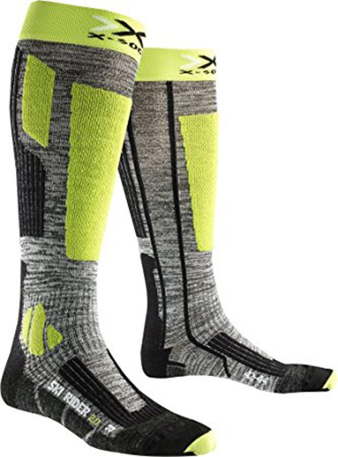X-Bionic Ski Rider 2.0 Ski Socks, UK 6-7.5 Grey Melange/Green Lime