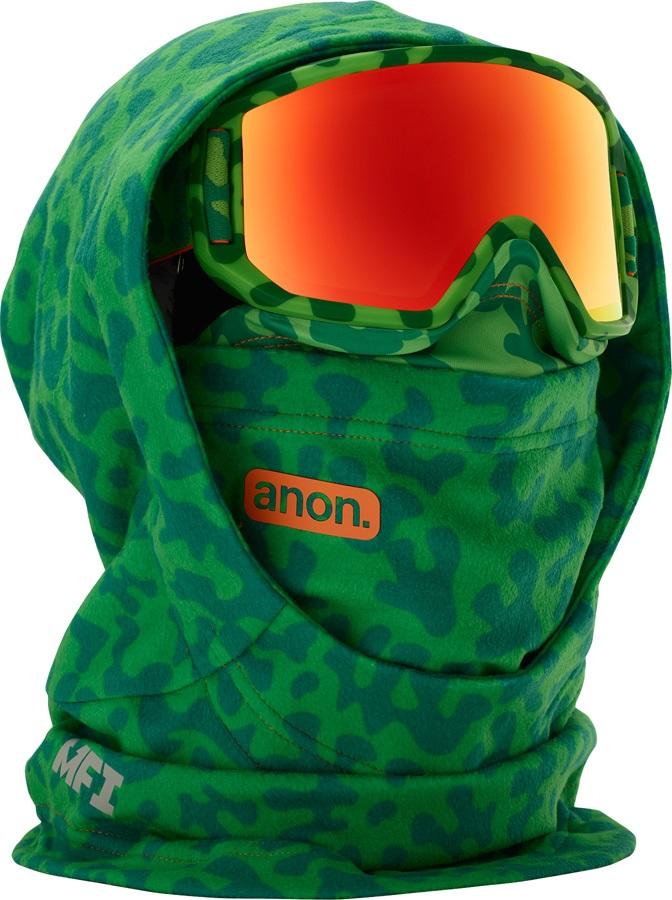 Anon Hooded Fleece Balaclava Kid's MFI Facemask, Green Skull