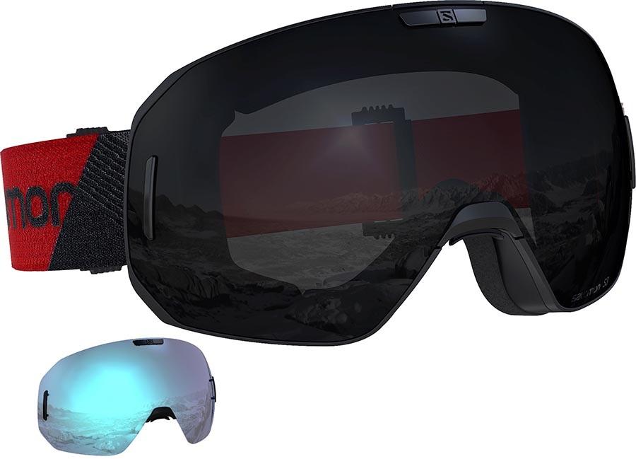 Salomon S/Max Solar Black Snowboard/Ski Goggles, M/L Black Red