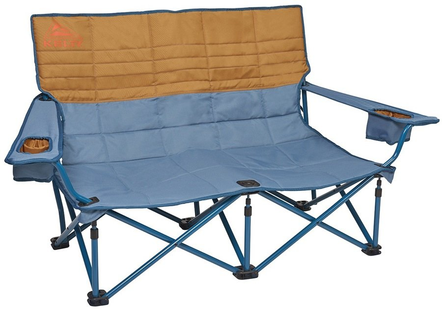 Kelty Low Loveseat Padded Double Camping Chair, 2-Person Blue/Brown