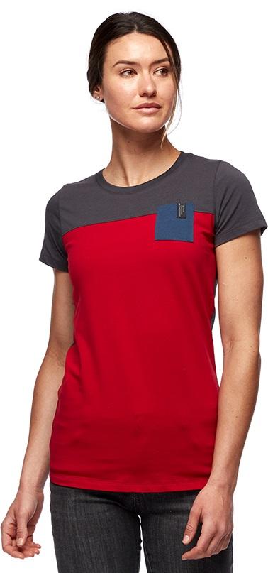 Black Diamond Campus Womens T-shirt, S Vermillion/Carbon/Ink Blue