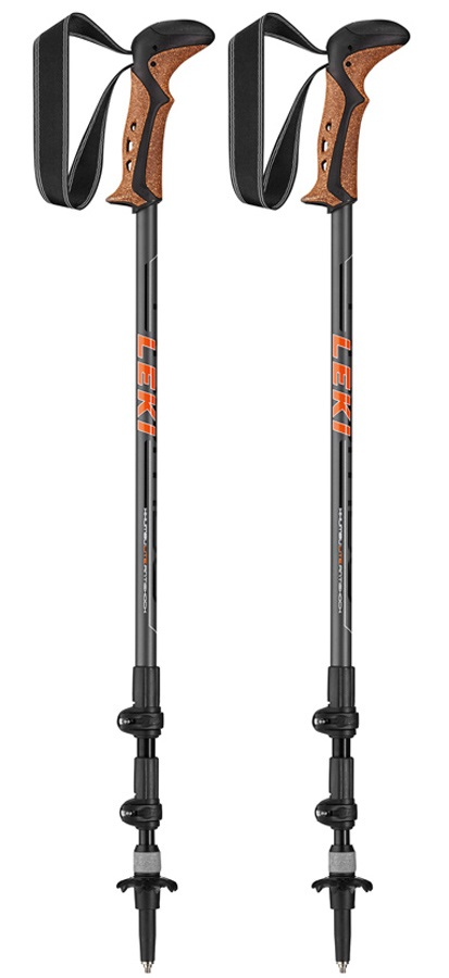 Leki Khumbu Lite AS Adjustable Trekking Poles, 100-135cm Black/Red