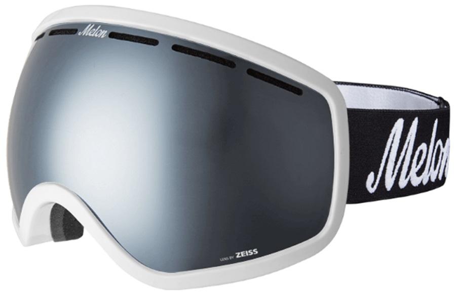 Melon Chief Silver Chrome/Logo Strap Snowboard/Ski Goggle, M/L White