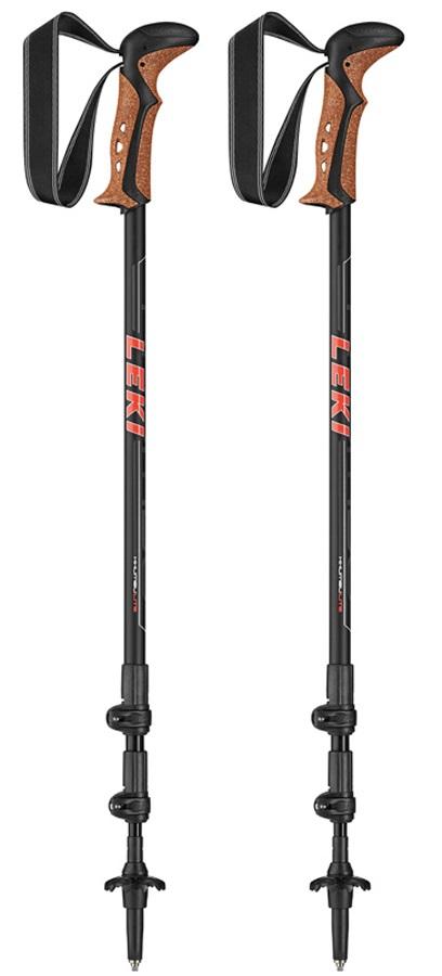 Leki Khumbu Lite Adjustable Trekking Poles, 100-135cm Black/Red