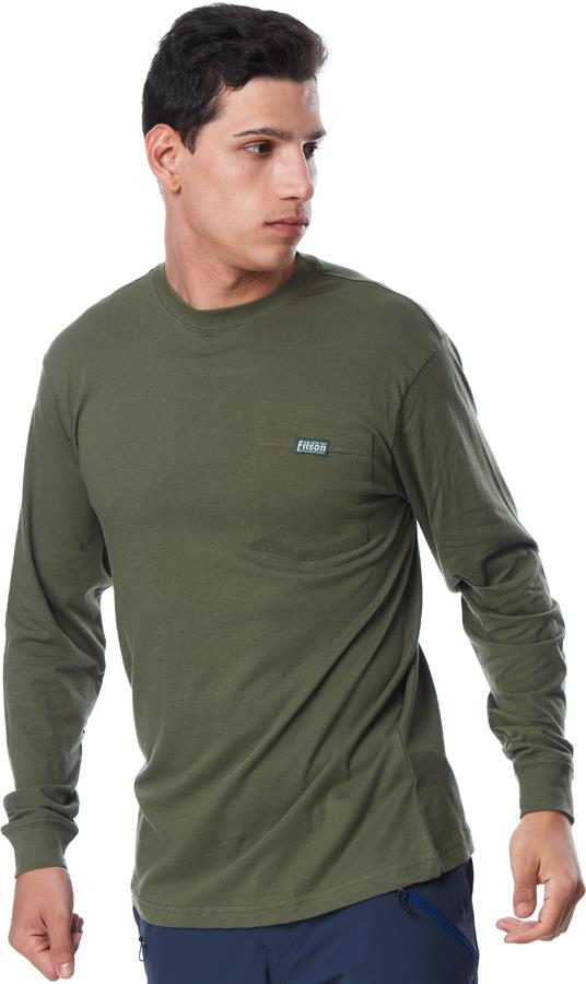 Filson Ranger Solid Pocket Long Sleeve T-Shirt, S Service Green