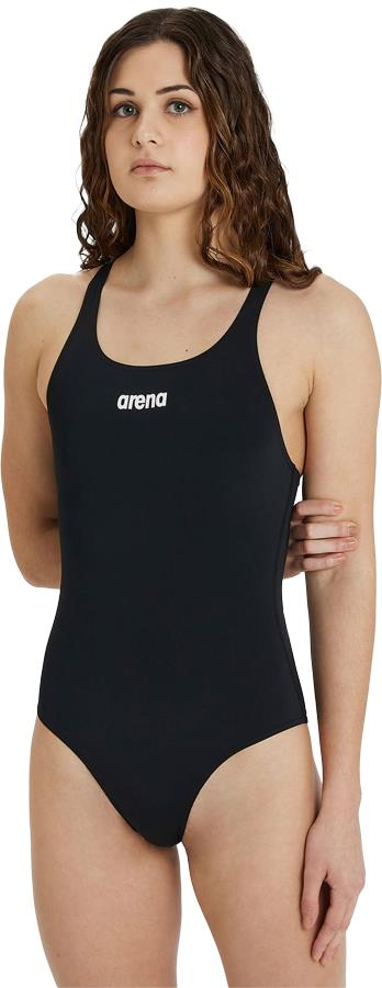 arena Solid Pro Women's One-Piece Swimsuit, UK 38 Black/White