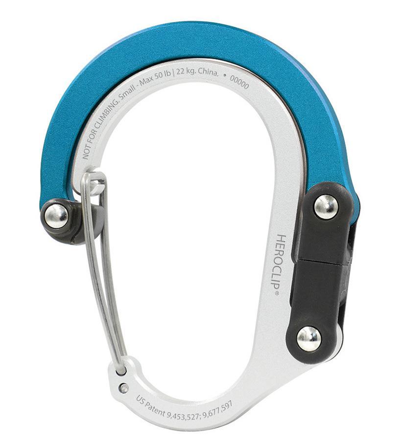 Heroclip Small Gear Clip Carabiner Gear Tidy, Small Blue Steel