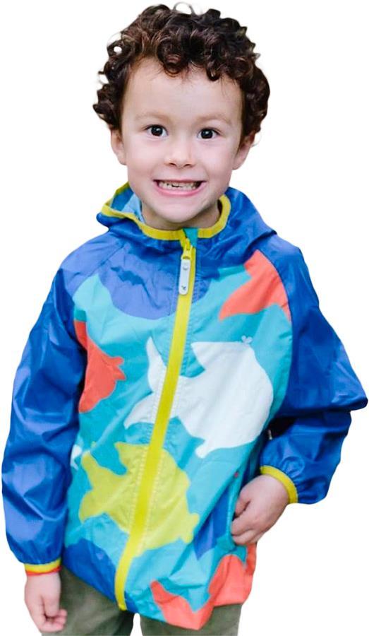 Muddy Puddles Ecolight Kids Waterproof Jacket, 2-3yrs Blue Fish