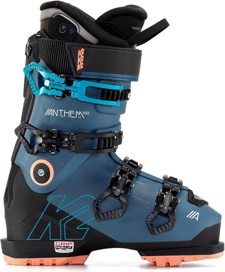 K2 Anthem 100 MV Heat Gripwalk Women's Ski Boot, 23/23.5 Blue/Coral