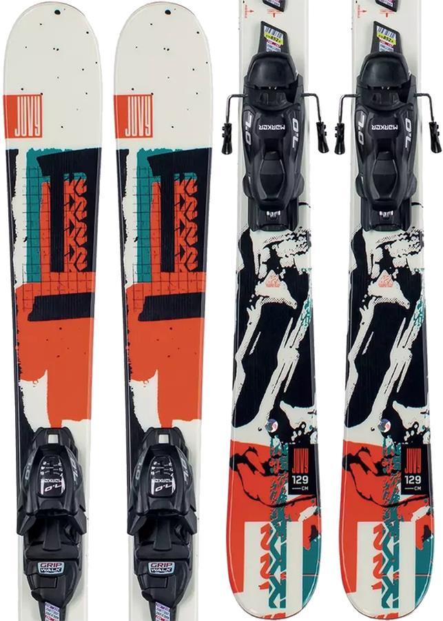 K2 Juvy Marker FDT 4.5 Kid's Skis, 129cm White/Black/Orange