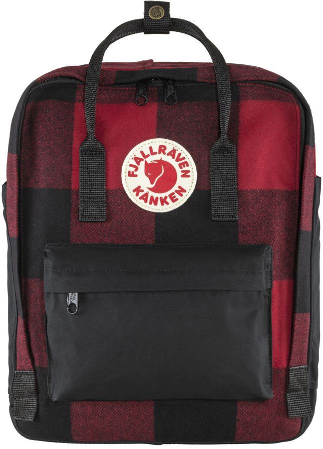 Fjallraven Kanken Re-Wool Backpack, 16L Red/Black