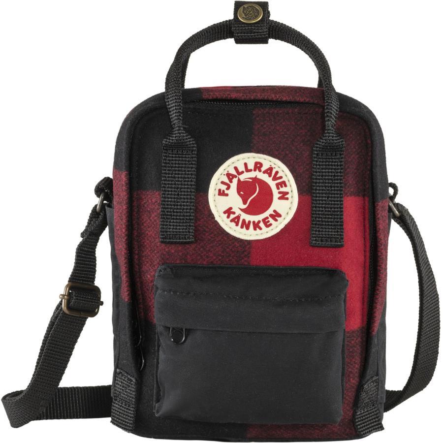 Fjallraven Kanken Re-Wool Sling Shoulder Bag, 2.5L Red/Black