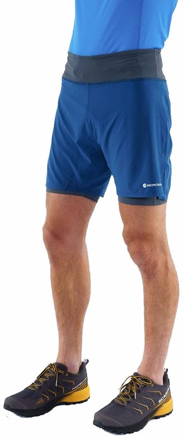 Montane Dragon Twin Skin Men's Trail Running Shorts, L Narwhal Blue