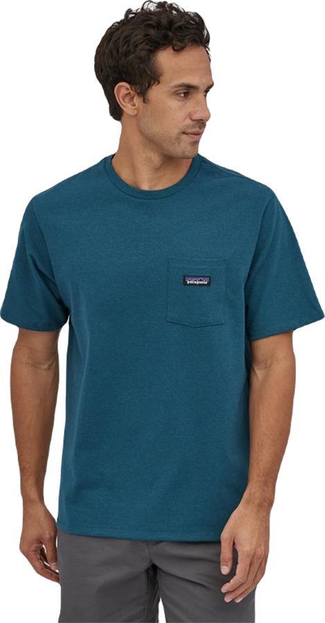 Patagonia P-6 Label Pocket Responsibili-Tee T-Shirt, S Abalone Blue
