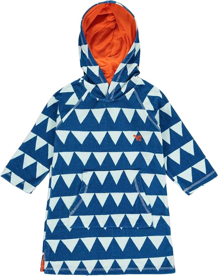 Muddy Puddles Towelling Poncho Kids Robe, 10-12yrs Blue Triangles