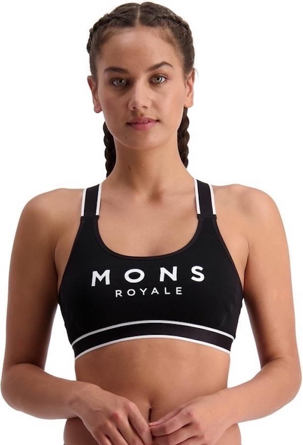 Mons Royale Stella X-Back Women's Merino Wool Sports Bra UK 14 Black