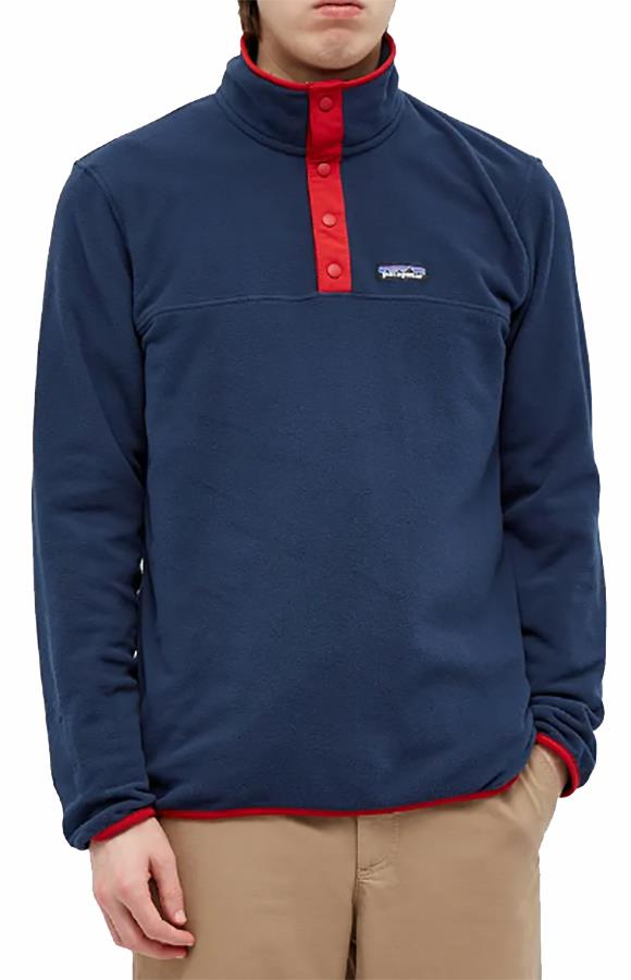 Patagonia Micro D Snap-T P/O Fleece Pullover, S Navy/Red