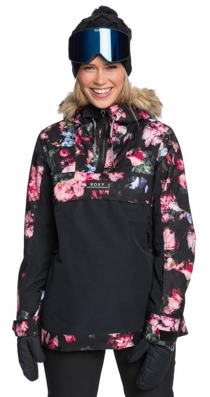 Roxy Shelter Women's Snowboard/Ski Jacket, S True Black Blooming