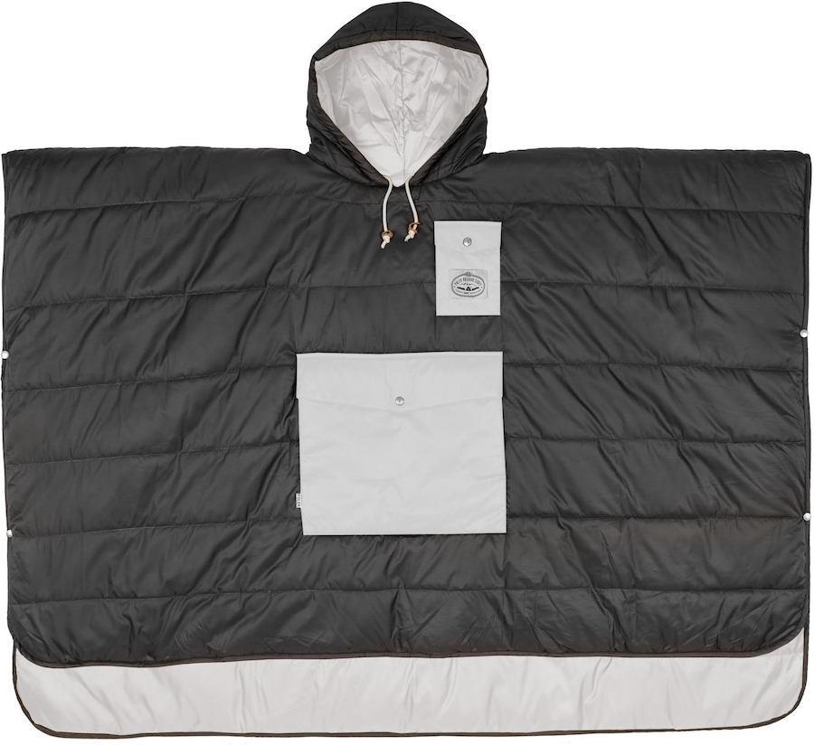 Poler Camp Poncho Reversible Camping Blanket With Hood, Off Black