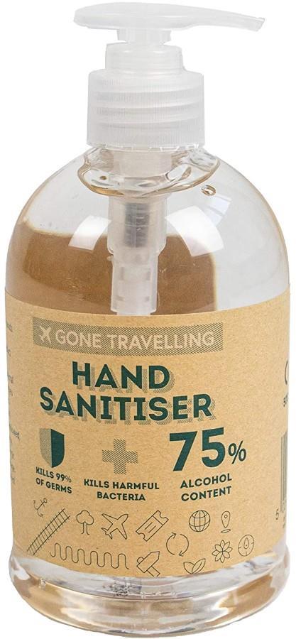 Gone Travelling Antibacterial Hand Sanitiser Gel Disinfectant Travel Protection, 500ml