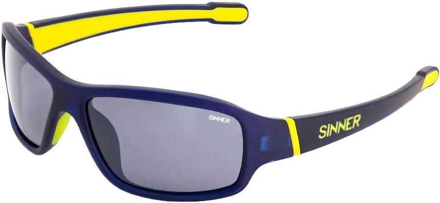 Sinner Ros X Smoke Flash Wrap Around Sunglasses, Dark Blue/Yellow