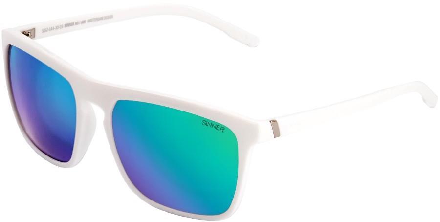 Sinner Thunder 2 Green Oil Wayfarer Sunglasses, Shiny White
