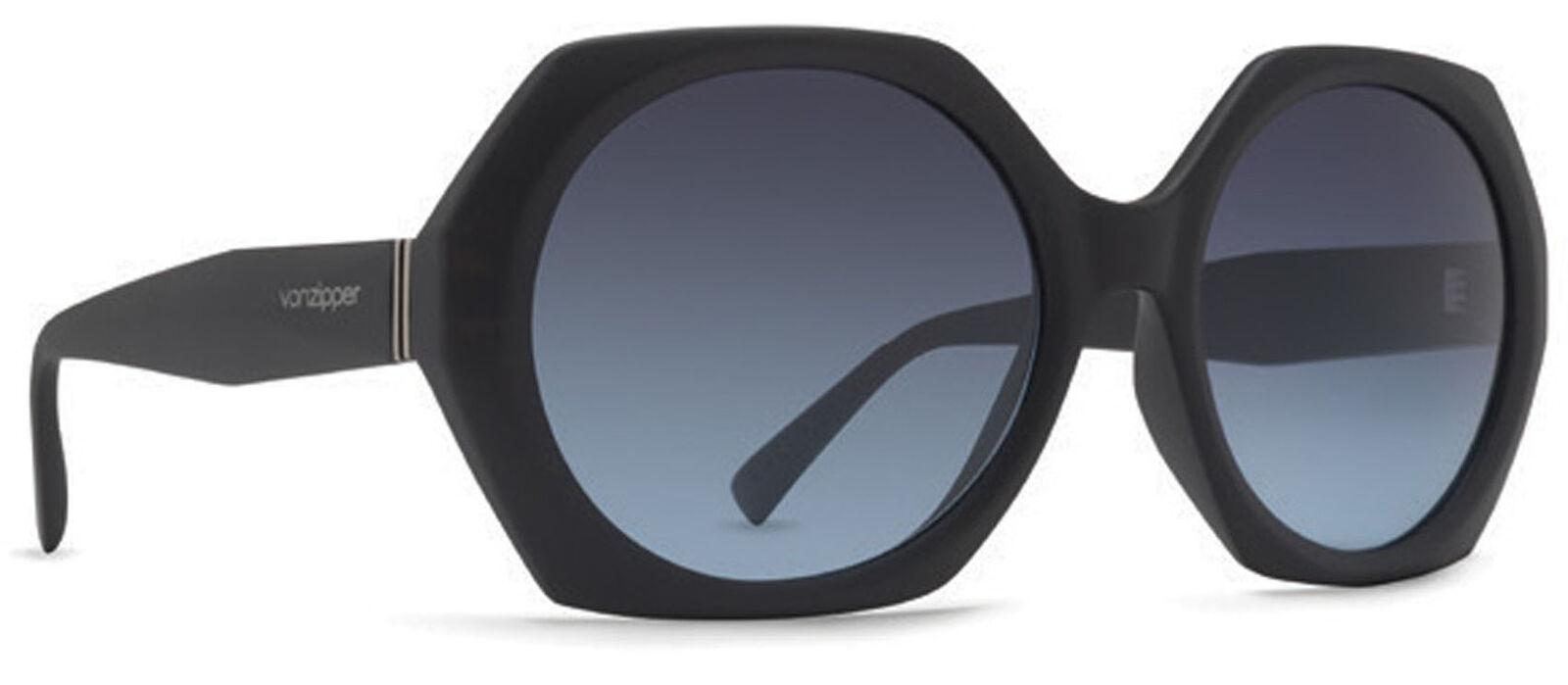 Von Zipper Buelah Grey Blue Gradient Lens Sunglasses, Black Satin