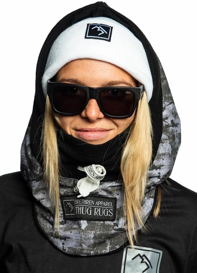Brethren Apparel Druid Hood Ski/Snowboard Balaclava, Black Ice