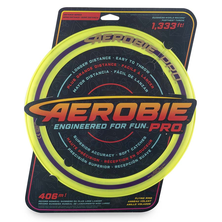 Aerobie Pro Flying Ring, 13-inch (33 cm) Yellow, Outdoor Toy