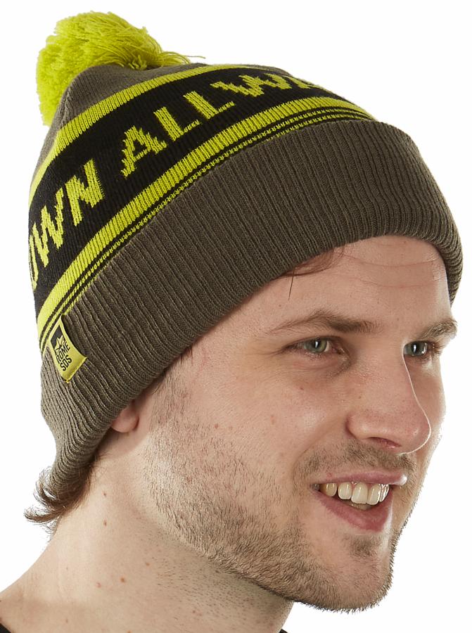 Rome AWD Jacquard Ski/Snowboard Cotton Beanie, Green/Yellow