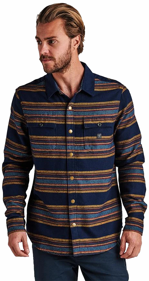 Roark Adult Unisex Nordsman Button Up Long Sleeve Shirt, L Navy