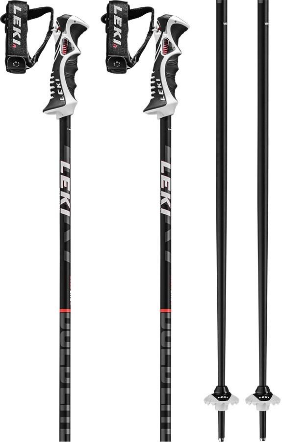 Leki Bold Lite S Slalom Grip Ski Poles, 120cm Black/Red/White