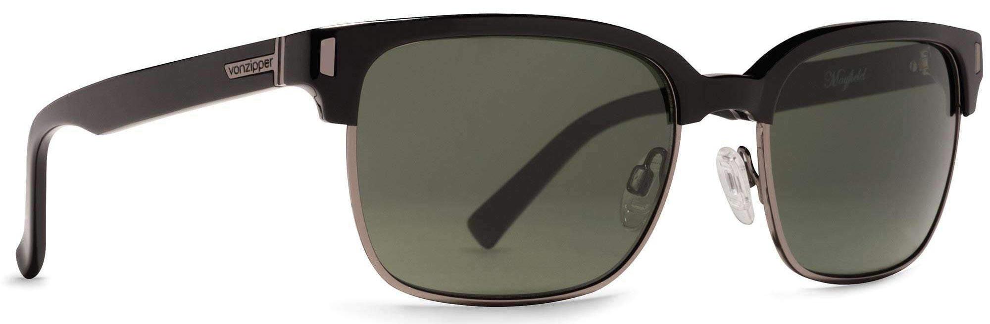 Von Zipper Mayfield Vintage Grey Lens Sunglasses, Black Gloss