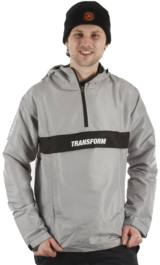 Transform Fast Text Windbreaker Ski/Snowboard Anorak, L Silver