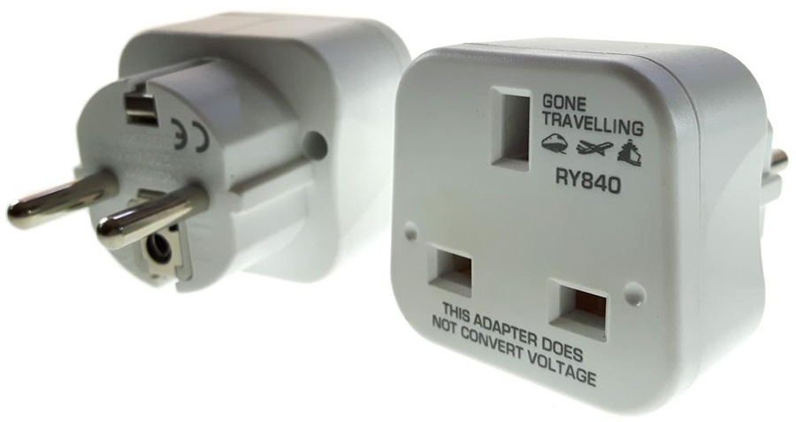 Gone Travelling 2-Pack Europe Travel Adaptor/Plug, White
